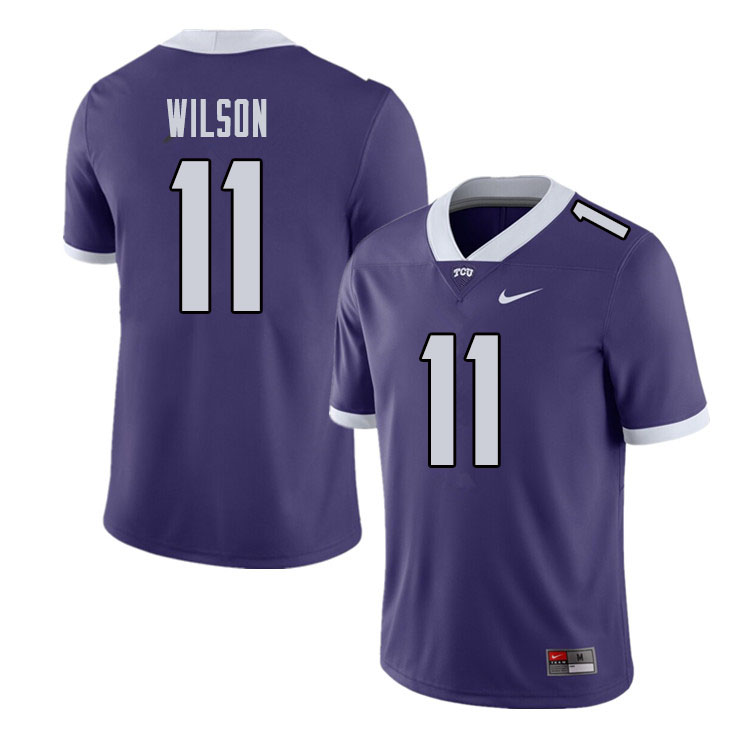 Men #11 Montrel Wilson TCU Horned Frogs College Football Jerseys Sale-Purple