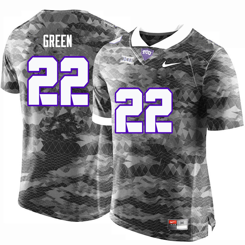 Men #22 Aaron Green TCU Horned Frogs College Football Jerseys-Gray