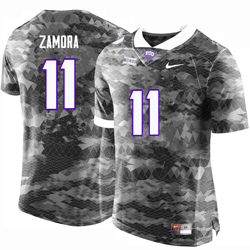 Men #11 Asaph Zamora TCU Horned Frogs College Football Jerseys-Gray