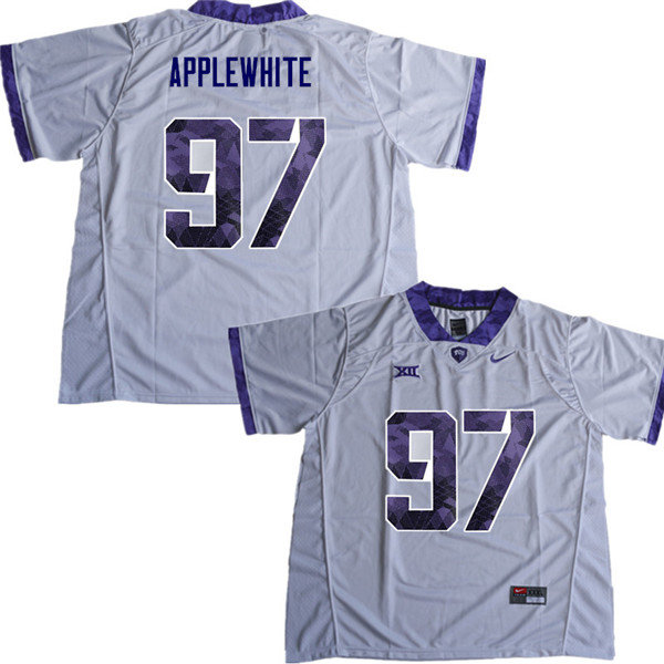 Men #97 Christian Applewhite TCU Horned Frogs College Football Jerseys Sale-White