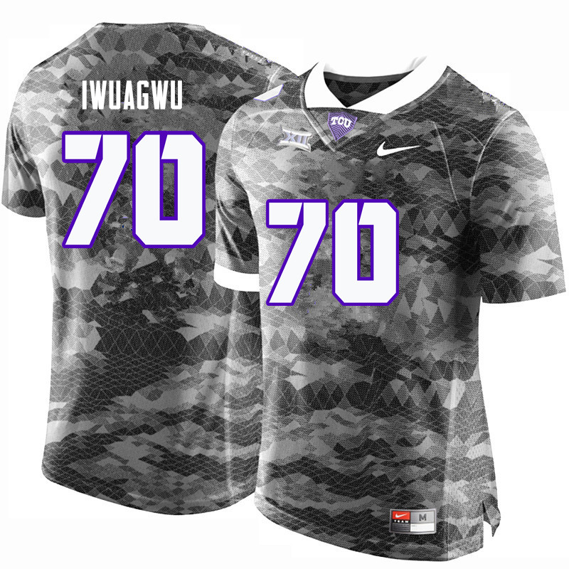 Men #70 Cordel Iwuagwu TCU Horned Frogs College Football Jerseys-Gray