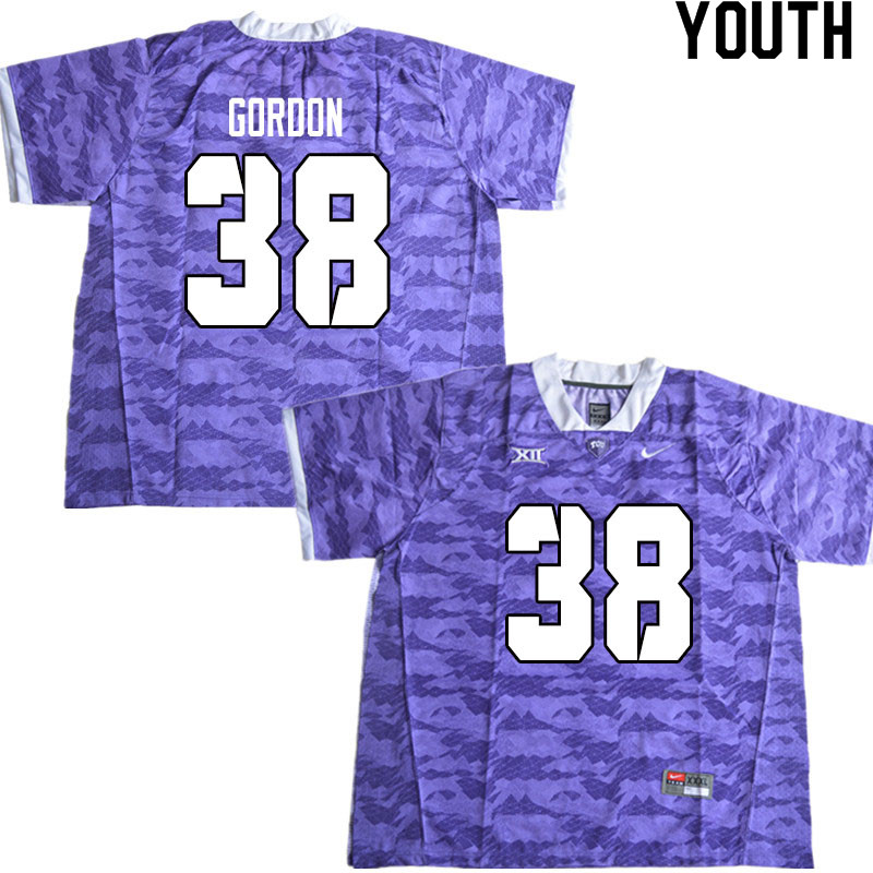 Youth #38 Dawson Gordon TCU Horned Frogs College Football Jerseys Sale-Limited Purple