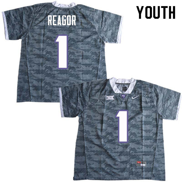 Youth #1 Jalen Reagor TCU Horned Frogs College Football Jerseys Sale-Gray