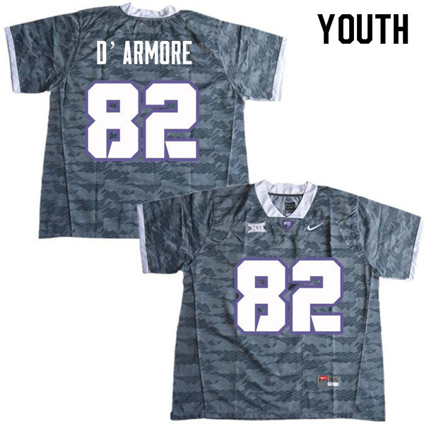 Youth #82 Jason D Armore TCU Horned Frogs College Football Jerseys Sale-Gray