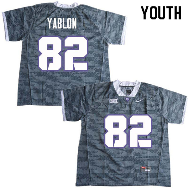 Youth #82 Yishai Yablon TCU Horned Frogs College Football Jerseys Sale-Gray